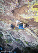 Rock Climbing Photo: Matt Reeser fishing in small wires on his route Tu...