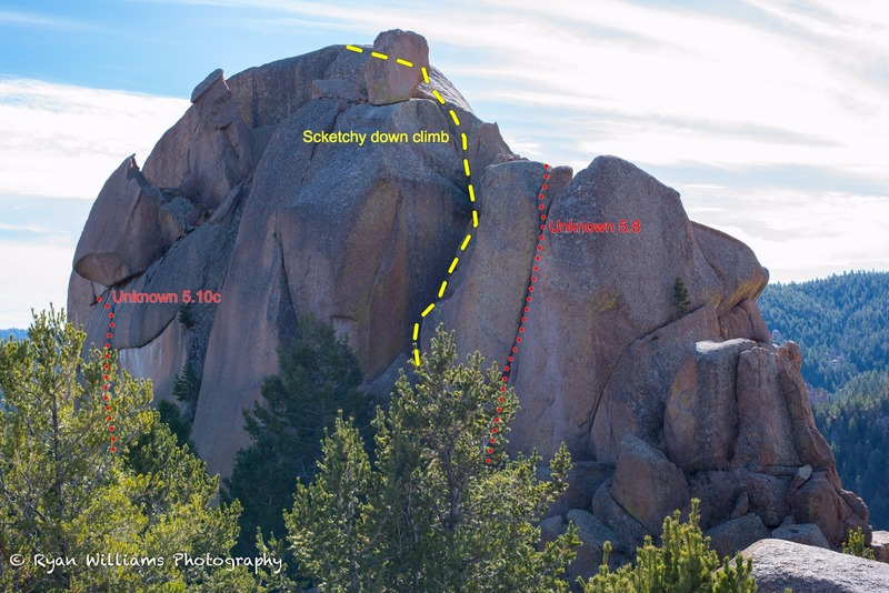 A view of the North Face and the few routes it has to offer.