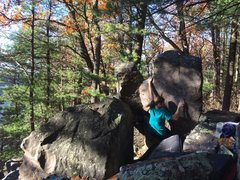 Heather moving through her climb. Fun!