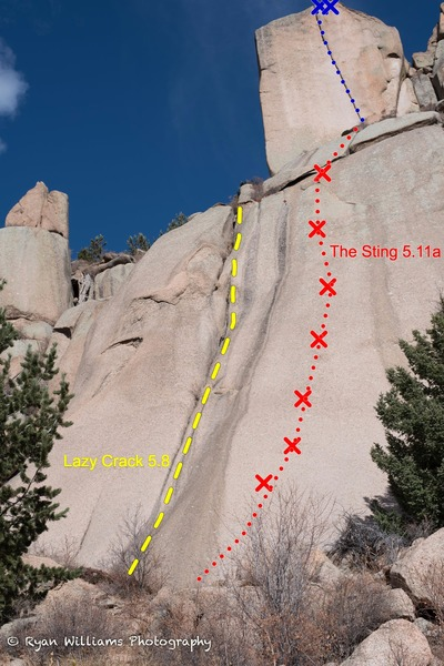 Rock Climbing Photo: Looking up from the base.  Lazy Crack (5.8) and th...