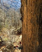 Rock Climbing Photo: Almost to the chains - short easy route