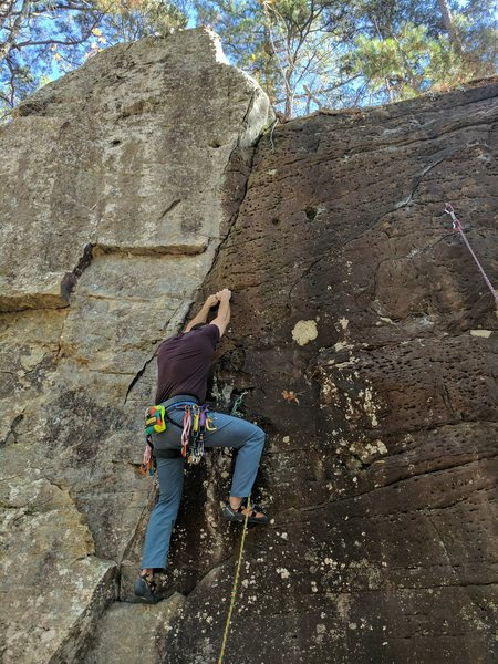 Rock Climbing Photo: Kevin is getting started on the route and has his ...