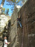 Rock Climbing Photo: Kevin is trying to lock in an offset nut in the th...