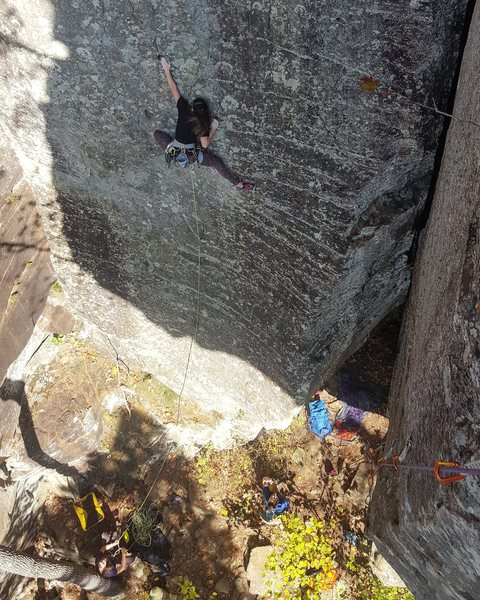"Jamie Strong balancing her way through the second crux of ""Wizard and Glass""."