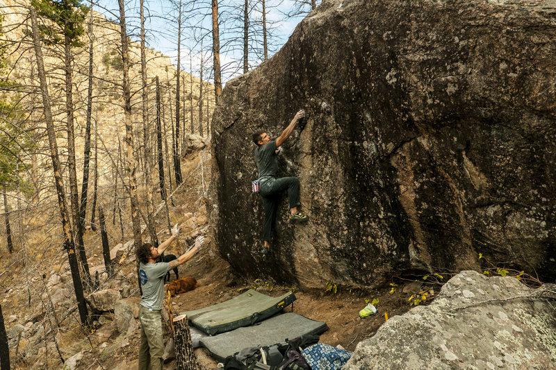 Rock Climbing Photo: RD moving through techy feet on Pocket Slab.