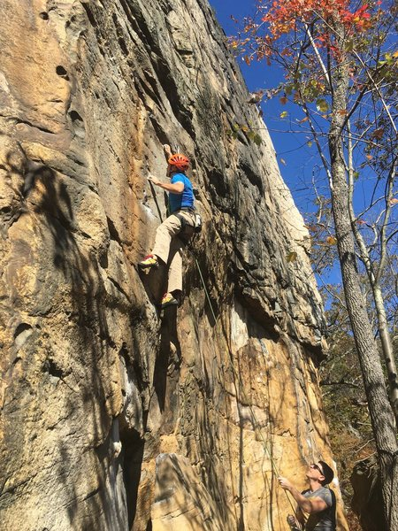 Steve finishing out the first crux.