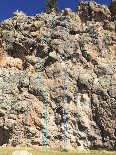 Rock Climbing Photo: Route for Eat Mor Chikin (left) and Bovine Inspira...