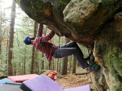 Rock Climbing Photo: Overhung and hand jammin.  Bet you'd never exp...