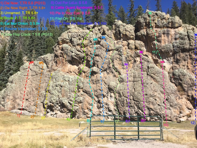Cattle Call Wall (left side).  All routes are shown (except bouldering routes) and are listed from left to right in numerical order and color coded for clarity.