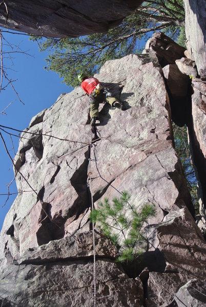 Rock Climbing Photo: Jacob on-sight leads MSJ 1-03-16.