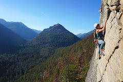 Rock Climbing Photo: Nicky Ouellet finishing up the second pitch of Mou...