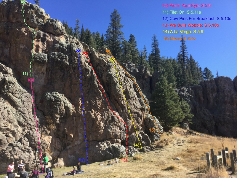 Cattle Call Wall: Right side.  Climbs are listed in numerical order from left to right (continued from left side of Cattle Call Wall) and color coded for clarity.