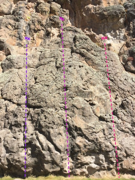 This shows Cud For LuLu (5.8, purple; left), Cattle Guard Syndrome (5.7 pink; middle), and Pie In Your Eye (5.6, hot pink; right). Cattle Guard Syndrome is not listed in the old beta photo for the crag; it lies between #5 and #6 (on the old photo), but now appears on the new beta photo for the crag.