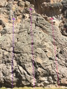 Rock Climbing Photo: This shows Cud For LuLu (5.8, purple; left), Cattl...