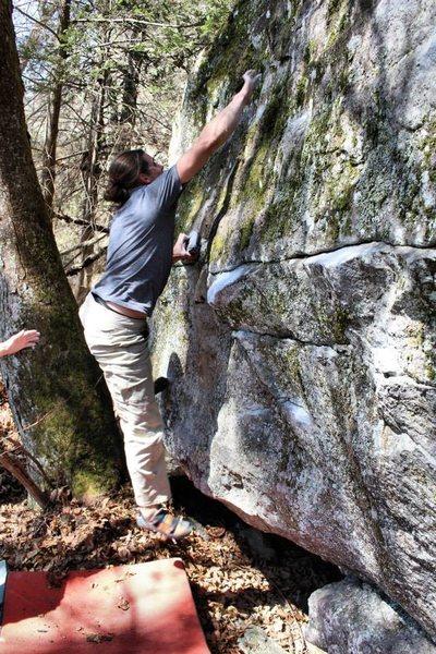 Rock Climbing Photo: Brad moving through the crux