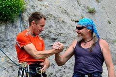 Rock Climbing Photo: Denis Urubko and Franco Piccaro, starting line!