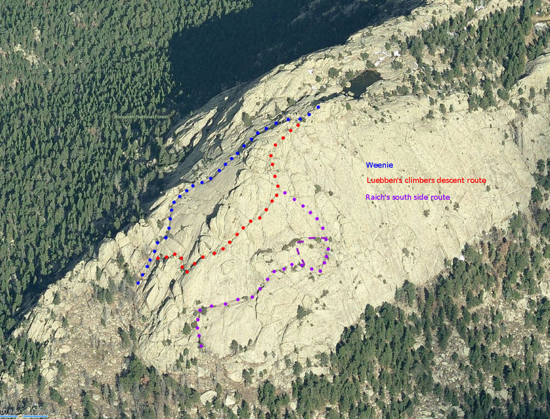 John Raich&#39;s route shown in the dotted purple line as described by Joe Grim (http://www.joeandfrede.com/colorado/greyrock_weenie/greyrock_weenie.htm).<br> An alternative (maybe 5.4) up a crack is shown with the dashed line.