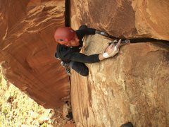 Rock Climbing Photo: Big Jon heading to the  anchors