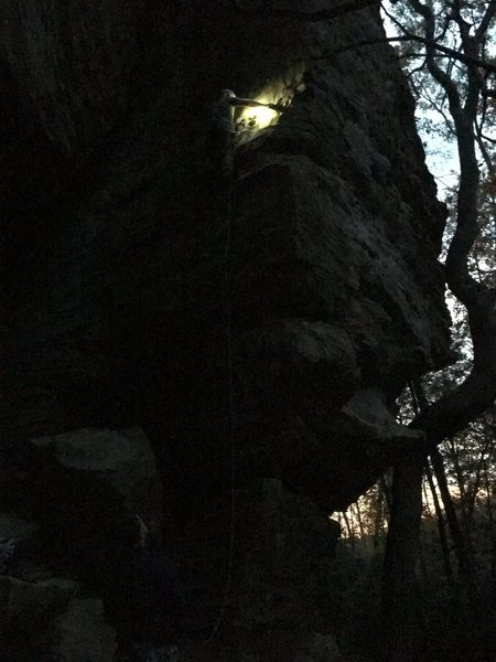 Rock Climbing Photo: Cleaning in the dark....good times!