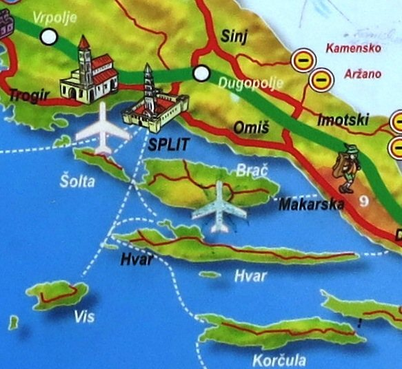 Rock Climbing Photo: Split beach map showing Omiš and Hvar