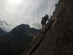 Rock Climbing Photo: Max makes his way up a freshly scrubbed Delusional...