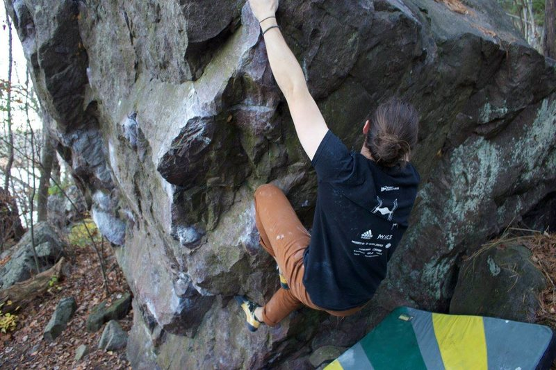 Rock Climbing Photo: Sending Moo Stache (V5) Photo: Ashlee Arendt