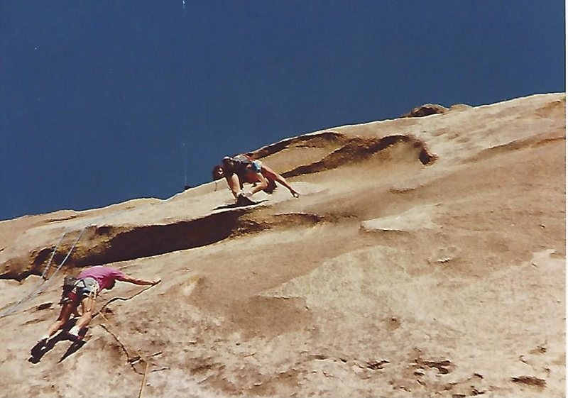Found this one in some old photos, Duane Raleigh lower left, John Barritt at the crux, Brian Jung on the belay how cool is that?