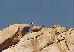 Rock Climbing Photo: Brian Jung mid leap from the snakes head to the bo...