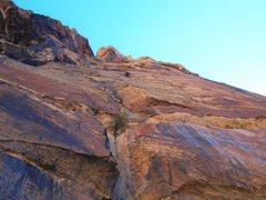 Rock Climbing Photo: Blake McCord staying cool on P2.