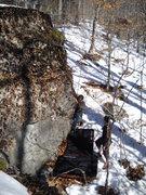 """Rock Climbing Photo: Matt Legere on the SS of """"Capitan Hook: (V1)"""