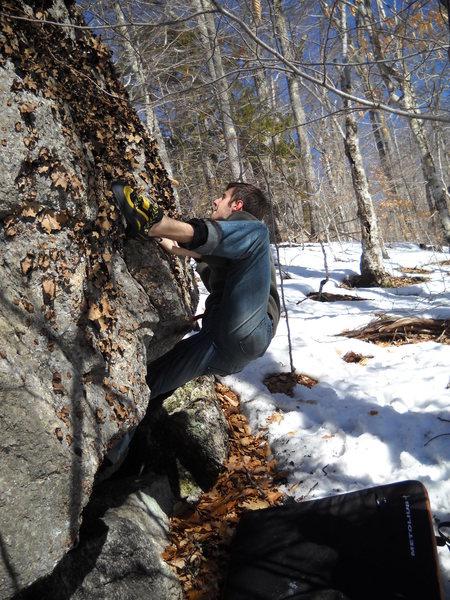 "Rock Climbing Photo: Matt Legere on ""Captain Hook"" (V1)."
