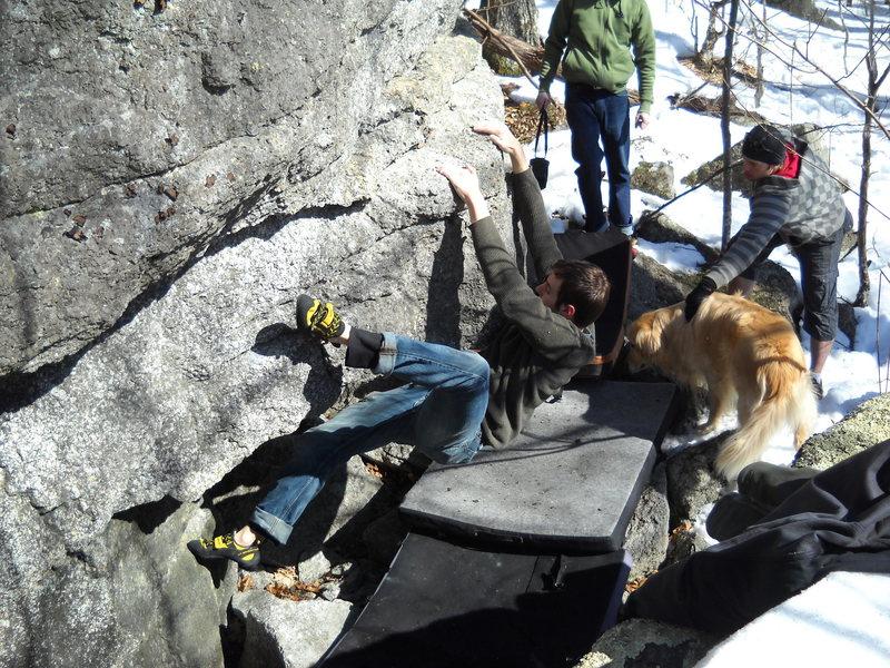 "Rock Climbing Photo: Matt Legere on ""The Long Trail,"" (V4)"