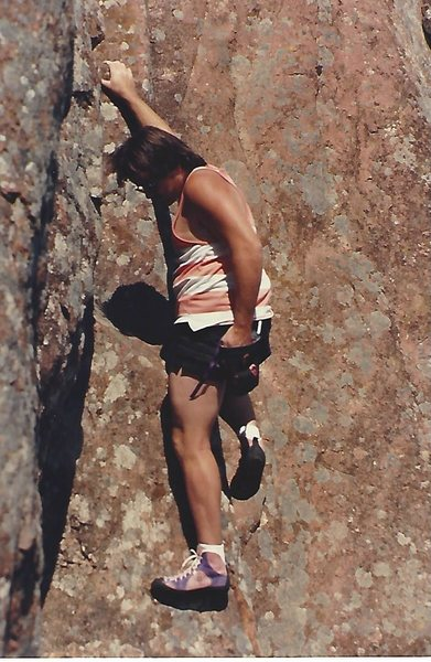 Barritt, at the crux, freesolo (looking relaxed in my lucky shirt)