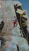 Rock Climbing Photo: Barritt driving pin on Crankenstein. Block is in t...