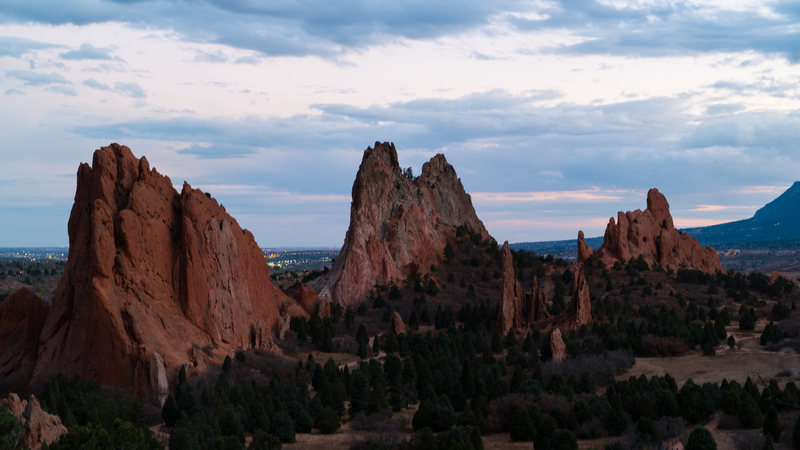 Garden of the Gods at sunset.