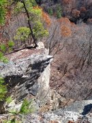 Rock Climbing Photo: Looking down at the route while taking a lunch bre...