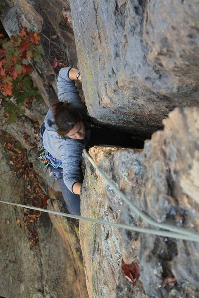 Rock Climbing Photo: Pulling on face holds into the offwidth