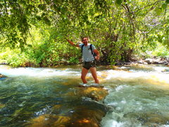 Rock Climbing Photo: Christian fording the river :) This is the fastest...