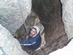 Rock Climbing Photo: View from the hole in the roof.  This shares the s...