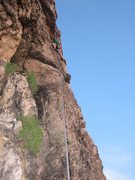 Good view of the route as seen from the belay.  Wic is getting it done.