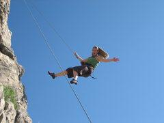 Rock Climbing Photo: Rachelle having fun on the belay down (like a Wran...
