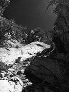 Rock Climbing Photo: Hunter approaching Das Super Novas!!