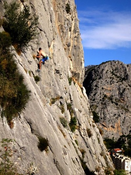 Rock Climbing Photo: Unknown Brit on Musaka (6a) at Stomorica in Oct 20...