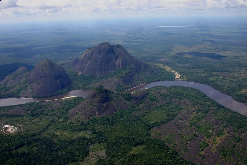 Aerial view of the domes and river.