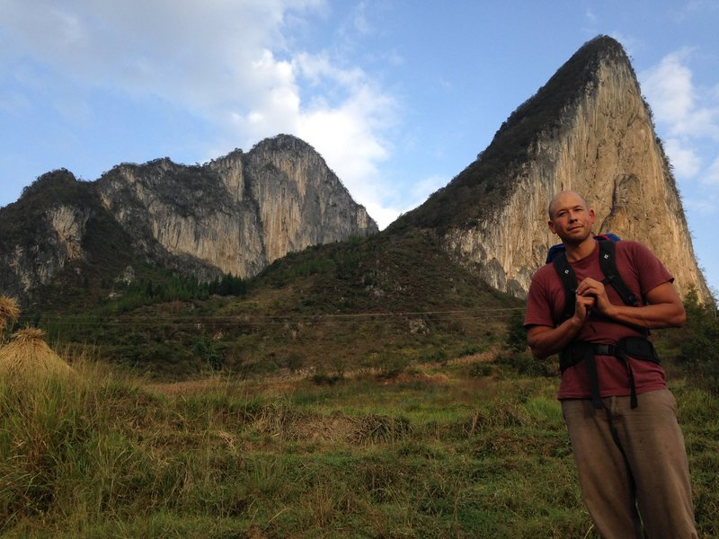 Standing right in front of Pusayan, with the CMDI Wall in the background. There are routes all over the base of Pusayan that aren't on the topo and look pretty hard