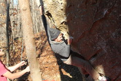 Rock Climbing Photo: Brendan sticking a crux move on hard to gouge