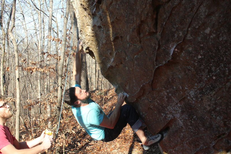 Rock Climbing Photo: gearing up for a big move on hard to gouge