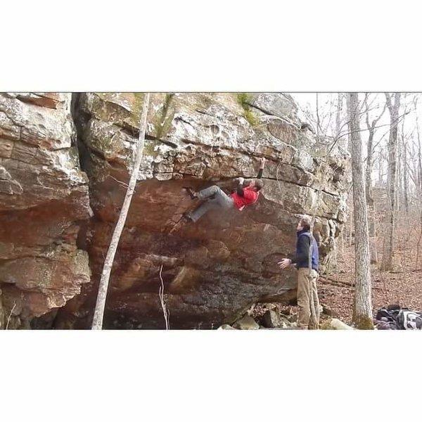 Rock Climbing Photo: Brendan near the top of hurricane handouts