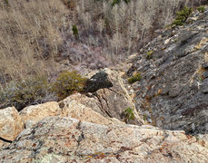 Rock Climbing Photo: looking back down the arete from the finish platfo...