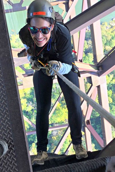 Rock Climbing Photo: Rappelling 850ft off the New River Gorge Bridge fo...